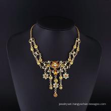 2016 Smoke Topez Rhinestone Gold Plated Zinc Alloy Necklace Jewelry Set
