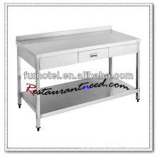 S053 Banco de acero inoxidable con cajón y salpicaduras con estante inferior