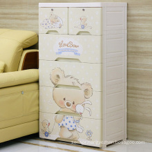 Cartoon Bear Design Plastic Drawer Storage Cabinet (8505)