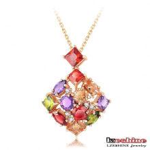 18k goldene überzogene bunte Zircon-weibliche Halskette (CNL0032-C)