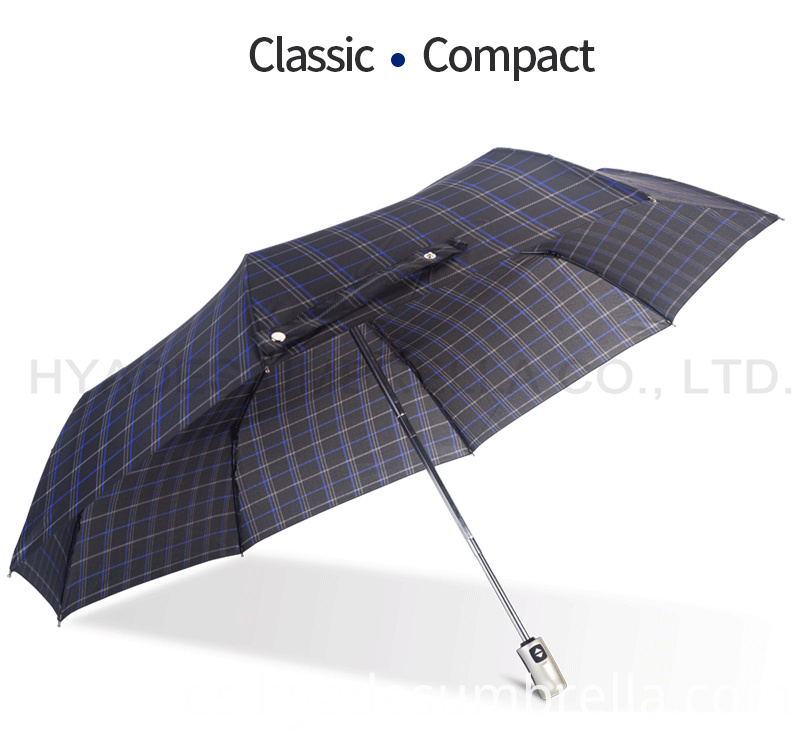 Product Descrption Page Check Print 3 Folding Umbrella For Men And Women