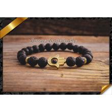 Natürliche Achat Stein Armband Schmuck Gold Hamsa Männchen und weibliche Modelle Perlen Armbänder Modeschmuck (CB050)