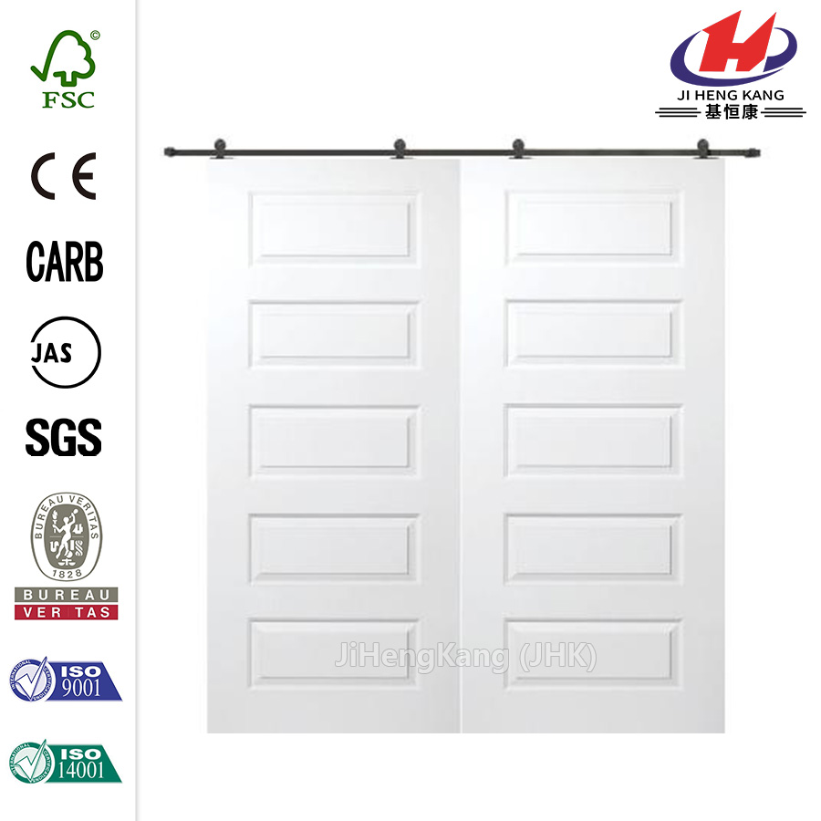 8-Panel Classroom Double Leaf Wooden Solid Interior Door
