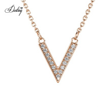 New 2021 Minimalist Victory V Shape Pendant Necklace Jewelry with Premium Austrian Crystal