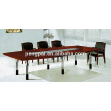 reddish brown steel legs meeting table for 4 6 people customized
