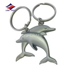 Llavero matte del delfín del níquel 3D del metal del bulto al por mayor