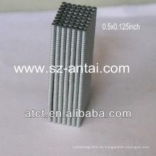 1/2 x 1/8 pulgada disco zinck capa imanes, imanes de disco de neodimio de 0.5 x 0,125 mm