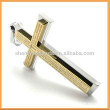 Atacado de aço inoxidável cruz pingente de alta qualidade de ouro pingente de colar de jóias