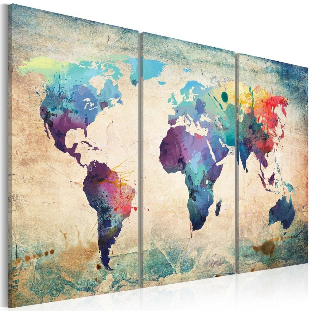 Canvas Print World Map Art Pictures