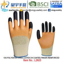 13G Polyester Shell Latex 3/4 beschichtet, Finger verstärkte Handschuhe (L2623) mit CE, En388, En420, Arbeitshandschuhe