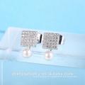 dernière conception boucles d'oreilles perle boucle d'oreille carrée forme cz boucle d'oreille
