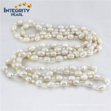 "Multi-Size 4&8mm Rice Shape 60"" Long Freshwater Cultured Pearl Necklace"