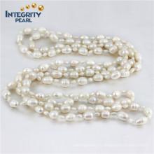 """Multi-Size 4 & 8mm Форма риса 60 """"длиннее пресноводное культивированное ожерелье перлы"""