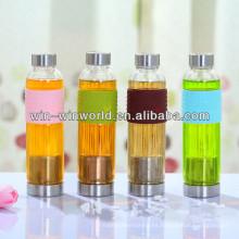 Venta caliente 2014 nuevos productos Regalos inusuales Botellas de deporte con estilo del vidrio con la manga del silicón