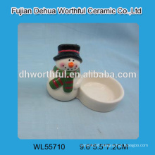 New arrival ceramic candle holder in snowman shape