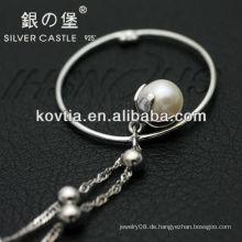Einzigartige Design Perle Anhänger Schmuck 925 Sterling Splitter Kette Halskette