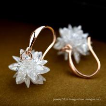 Boucles d'oreilles en cristal pur et mignon en cristal pur brillant boucles d'oreilles en cristal de pierre naturelle pour filles adolescentes