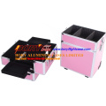 Personalisierte rosa 3 Schichten tragbare Make-up Vanity Case mit Teiler