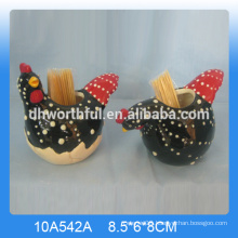 Hot sale high quality ceramic toothpick holder with cock shape