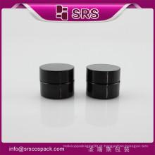 SRS fabricante de embalagens pequeno recipiente de plástico, preto redondo 8g PETG vazio frasco de creme cosmético