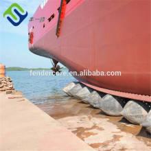 Marine rubber pontoon for ship launching landing