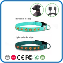 Led Blinking Glow Leather Pet Dog Collars