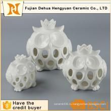 Белая керамическая выдолбленная керамическая держатель свечки сыча