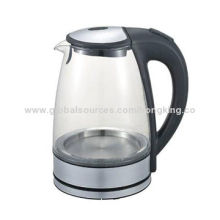 Cordless glass kettle with 1.7L capacity, auto cut off after boiling, 360 degree connector, SS304