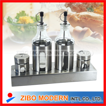 Stainless Cover Glass Oil and Vinegar Bottle with Silica Gel Stopper
