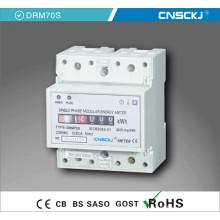 Medidor de trilho DIN monofásico 4p