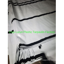 210GSM Black Weaving Fabric Tarpaulin and White Color with 6 Black Stripes Tarpaulin