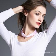 Colar de lenço de seda rosa para mulheres
