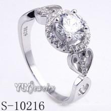 Сравнить 925 Серебряное родиевое кольцо CZ (S-10216)