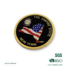 Moeda militar personalizada ouro da lembrança da borda da corda