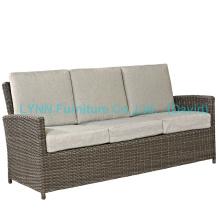 Sofá de móveis em vime de 3 lugares com almofada impermeável