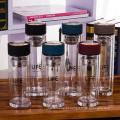 alta qualidade 350ml 450ml garrafa de água de vidro de borosilicato com filtro