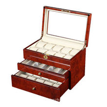 Wooden watch display case for 25 watches with piano painting