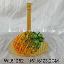 Pineapple design ceramic tissue holder with wooden part