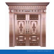Luxo real cobre bronze porta entrada porta segurança dupla na porta de entrada