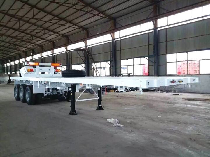 3 Axle Flat Bed Trailer White Color