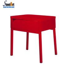 Table carrée en métal à 4 pieds avec tiroirs