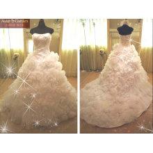 высокое качество уникальный стиль хвостовых атласная свадебное платье RB046