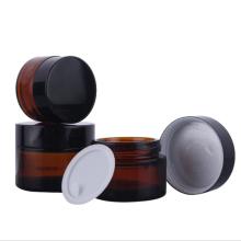 Bocal en verre ambre cosmétique rond de 20 ml / 30 ml / 50 ml