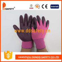 Rose Red Nylon with Dark Purp Nitrile Glove-Dnn818