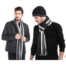 Мужская зимняя классическая полосатая мужская шерстяная шарф (82020)