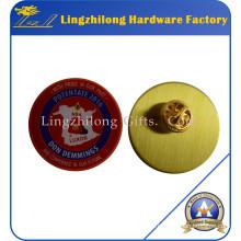 Pin de solapa de metal de impresión en offset de latón dorado