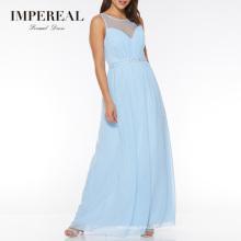 Women Simple Korean Long Maxi Chiffon Blue Bridesmaid Dress