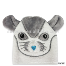 Long Service Life white mouse baby hooded towels rectangle organic bamboo fiber towel plain dyed and washcloth set