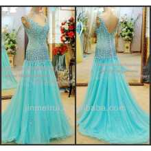 Real Sample See Through Tulle Long Evening Dresses Luxury Turquoise Sexy Beaded Prom Dress DP363