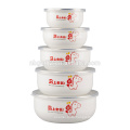 5pcs promotion enamel mixing bowl set with two side decal